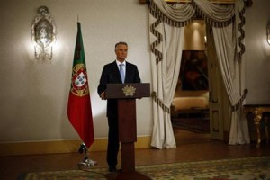 Portugal's President Cavaco Silva makes a statement to the media in Lisbon