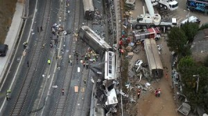 An overhead view of the wreckage of a train crash is seen near Santiago de Compostela