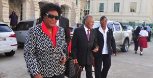 Opposition Leader Mia Mottley leads her team to Parliament.
