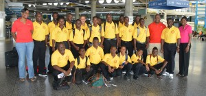 The Ellerton Juniors Cricket Club flanked by coach, Rodney Waltress and Light & Power staff as they journeyed to their tournament in St. Lucia.