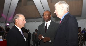 Realtor, Paul Altman (left), ICBL's Senior Vice President Henry Inniss and Director Gordon Henderson in discussion.