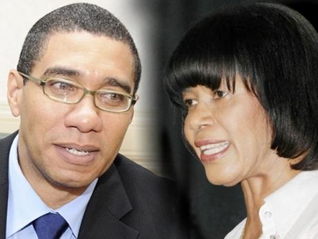 PNP Leader Portia Simpson Miller and JLP Leader Andrew Holness