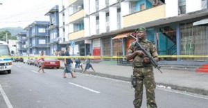 A heavy police presence in Port-Of-Spain.