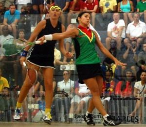 Karen Meakins (left) lost out to Guyana's Nicolette Fernandes. (FP).