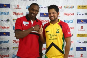 Trinidad and Tobago Red Steel captain Dwayne Bravo (left) and Guyana Amazon Warriors' leader Ramnaresh Sarwan.