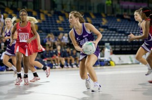Scotland's Sarah Kerr looking to pass to a team- mate. (Picture compliments Tom Roberts)