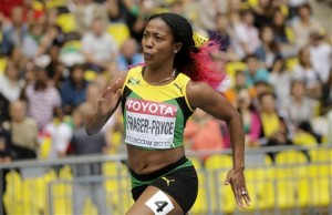 Shelly-Ann Fraser-Pryce completed the sprint double in Moscow today.