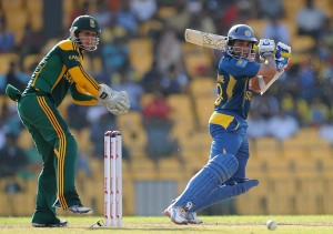 Tillakaratne Dilshan cuts for a boundary during his 99.