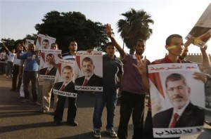 Mursi supporters on the streets.
