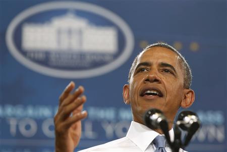 U.S. President Obama speaks about home ownership at Desert Vista High School in Phoenix, Arizona
