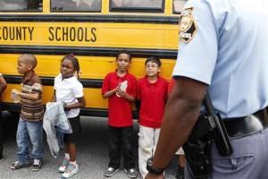 Children outside the elementary school.