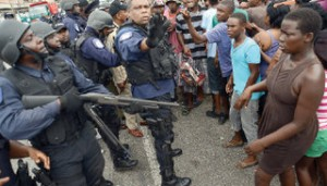 Residents and cops face off in Beetham Gardens.