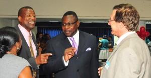 Senator Rev. David Durant, (second left) chatting with President of the Barbados Alzheimer's Association, Pamelia Brereton, (left) Steve Blackett and Neurologist, Dr. Howard Chertkow (right).