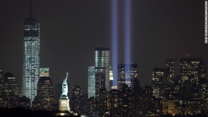 The Tribute in Light marks the 12th anniversary of the 9/11 attacks last night.