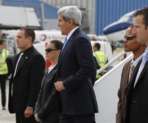 Secretary of State John Kerry arriving in Geneva today.