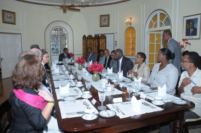 Members of the diplomatic corps at the breakfast meeting with Prime Minister, Freundel Stuart at Ilaro Court on Wednesday.