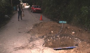 The hole which was dug for roadworks is creating problems for White Hill, St Andrew residents.