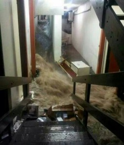 Water rushes through the children's ward at the Milton Cato Memorial Hospital. (Photo: Jerry George in St Vincent)