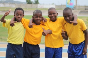 Gold House's 4x100 metres relay team, including Shawneko Moore, Chrislon Greene, Abel Ampadu and Andrew Bancroft celebrating their win.