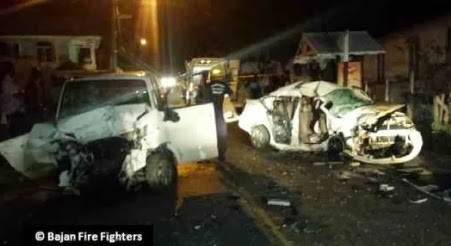 The scene of the fatal accident on Rendevous Road, at the junction with Amity Lodge. (Photo courtesy Bajan Fire Fighters Network)