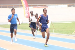 Daran Hinds of Cumberbatch House (right) showed great determination to win the 200m over victor ludorum Lee- Andre Walker of Alleyne House.