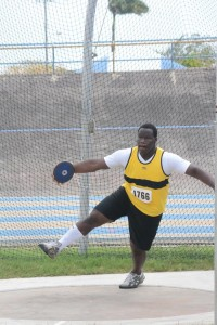 Dario Sobers about to make his winning discus throw.