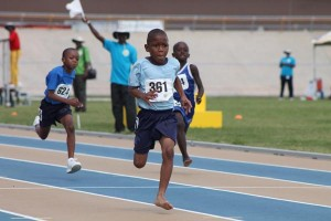 Decontae Boyce of St James Primary was focused on the finish-line in the under-nine boys' 80m.