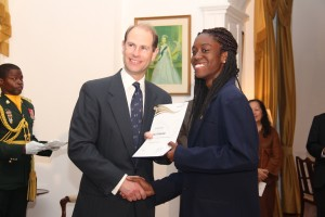 Nya Greenidge receives her award from Prince Edward