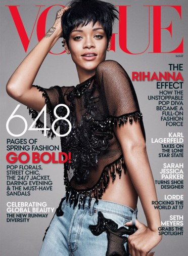 Rihanna on the cover on the March edition of Vogue.