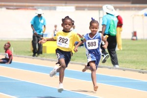 Under-seven girls' 50 metres between Shonika Massiah of St Elizabeth Primary (left), Sehayla Richards of St James Primary. Massiah took the victory.