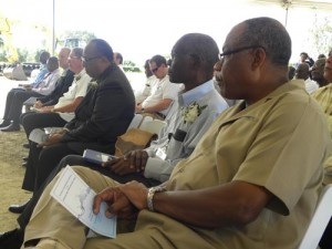From right, Minister John Boyce, BWA's Dr John Mwansa and Minister Dr David Estwick at today's groundbreaking.