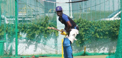 Kirk Edwards practicing in the nets at Kensington Oval. He says he'll be ready when he's called on to represent Barbados again.