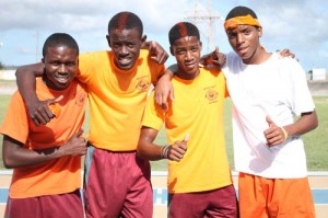 The winning  4x400m relay team from Orange House, inclusive of (l to r) Ramario Wilkinson, Kyle Coddrington, Rishad Knight and Shaquan Newton.