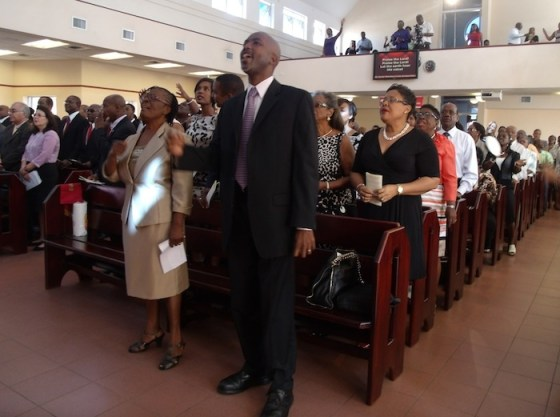 Members of the congregation at the Power in the Blood Assembly where the BLP held its 76th anniversary service this morning.