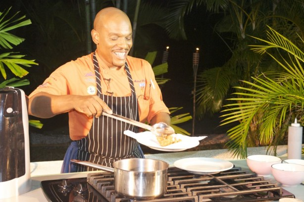 Chef Michael Harrison preparing his first dish of the night.