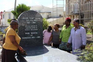 St Thomas MP Cynthia Forde (far right), joined by members of the Barbados Labour Party, as they recall  some of their memories of the late Tom Adams who died 29 years ago today.
