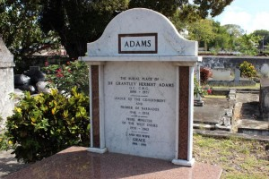 Sir Grantley Adams' tombstone in the churchyard of St Michael's Cathedral.