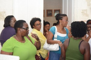 These Transport Board workers are seen leaving Mia Mottley's office today.