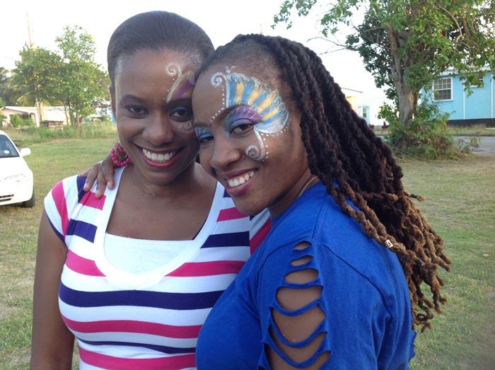 Neesha Woodz (right) and dance leader Alethea Thomas.