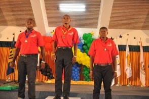 The best in Automotive Technology, from left, second place Timothy Johnson, the winner Darius Shepherd, third Jonathan Medford.