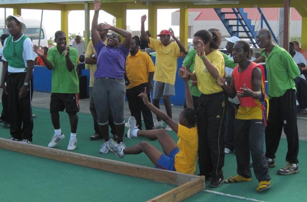 Athletes taking part in bocce.