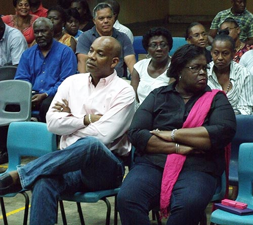 MP for St Joseph Dale Marshall (left) and Barbados Labour Party second vice-president Pat Parris at last night's meeting.