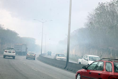 Motorists drivng along this section of the highway encountered smoke from the bush fires.