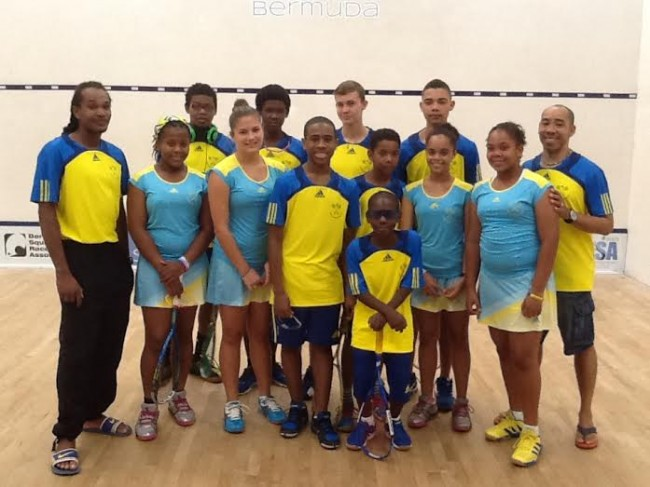 Barbados' junior squash team in Bermuda.