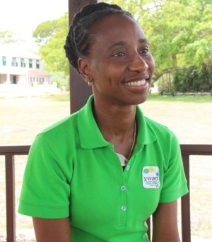 Beverley Pinder speaking with Barbados TODAY at Youth With A Mission's location in Thicket's St Philip.