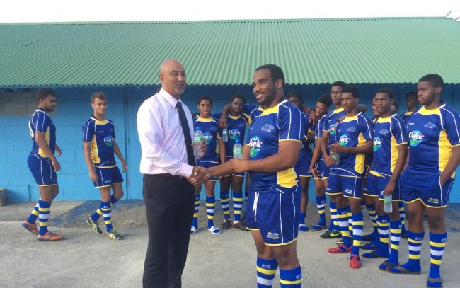 Mark Doherty making the presentations to the Barbados team.