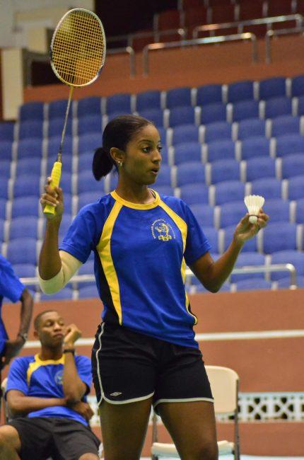 Shari Watson leading Barbados' badminton team at the Commonwealth  Games.