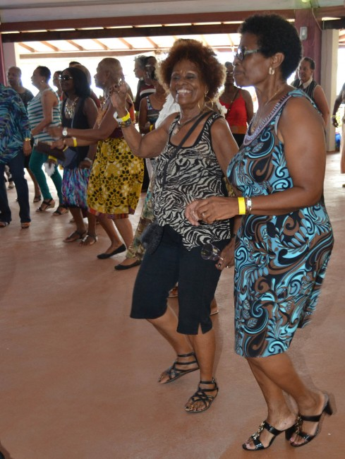 Sheila Bushell, (right) wife of the BARP president, getting down to the songs from Grynner.