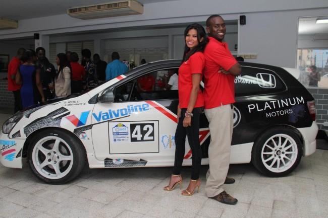 Jamal Brathwaite with Honda ambassador Chiney Dolly.