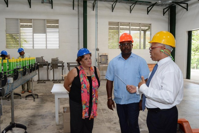 Minister of Industry and Commerce Donville Inniss (centre) and Barbados Manufacturers' Assocaition Executive Director Bobbi McKay listen attentively as Ricardo Strickland, general manager of McBride Caribbean Limited makes a point.